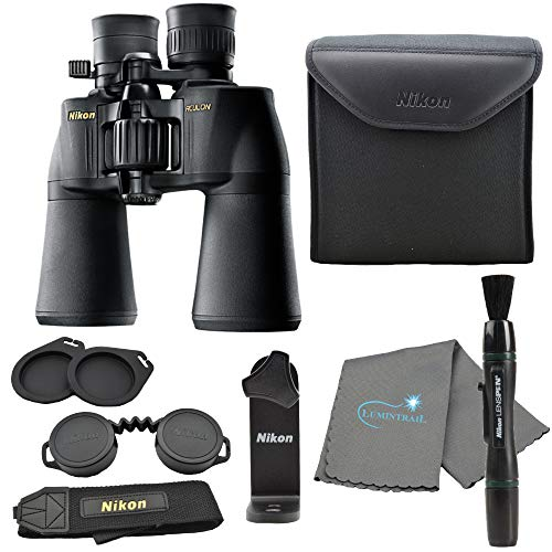 Nikon Aculon A211 10-22x50 Binoculars Black (8252) Bundle with a Tripod Adapter, Nikon Lens Pen, and Lumintrail Cleaning Cloth