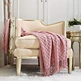 CREVENT Light Blush Pink Knit Throw Blanket for Couch Sofa Chair - Soft and Decorative for Spring Summer (50''X60'' Dusty Pink/ Pale Pink)