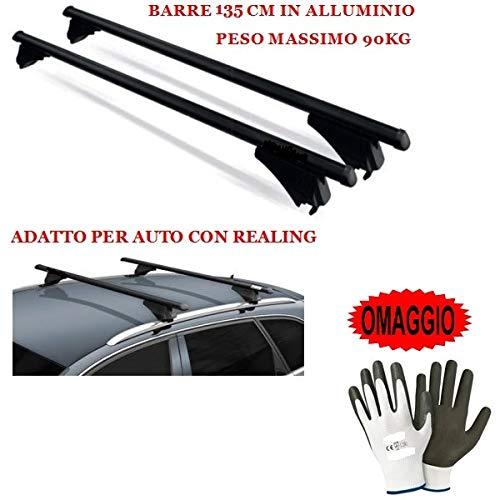 Compatible con Honda Civic IX Tourer 2015 Barras DE Techo DE Coche 135CM 90KG Barra DE Coche con BARANDILLA FIJADA Completamente AL Techo EN Aluminio Aprobado