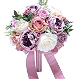 LYMS Fleurs Tenir, Fleurs de Soie, Fleurs artificielles Mariage,Taropurple