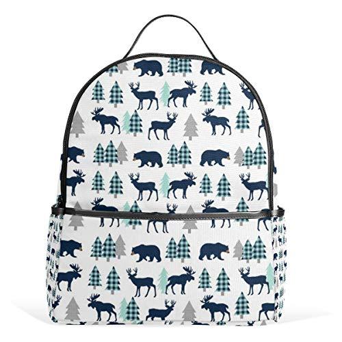Woodland Animals Navy Mint Buffalo Plaid Baby Kinderzimmer Kinder Baby Boy Bettwäsche Rucksack für Männer Frauen Rucksack Schultertasche Daypacks Teenager Reisetaschen Casual Daypack für Reisen