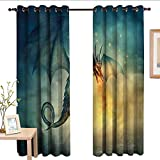 <span class='highlight'><span class='highlight'>TimBeve</span></span> Customized Curtains Fantasy,Dragon in The Sky Flame.jpg,Blackout Draperies for Bedroom Living Room 54