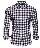 Kayhan Hombre Camisa Slim fit, Quadri Doppelfarbig Brown S
