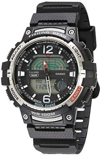 Relógio esportivo masculino Casio Pro Trek Quartzo com pulseira de resina, Preto