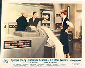 HIS OTHER WOMAN DESK SET KATHARINE HEPBURN SPENCER TRACY LOBBY CARD COMPUTER OLD