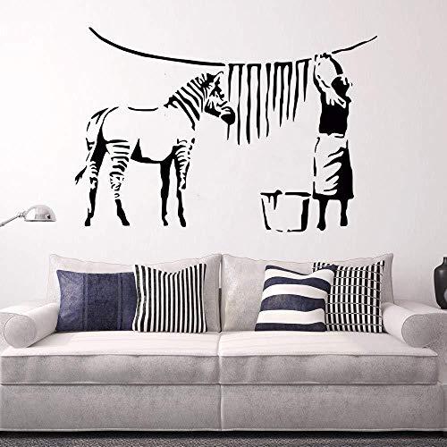 Banksy Stil Wandtattoo Zebra Streifen Waschen Dame wandaufkleber familie kunst wandtattoo wohnzimmer schlafzimmer wanddekoration wandbild abnehmbare vinyl 57 * 84 cm