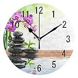 Domoko Home Decor Orchid Flower Zen Stone Bamboo Round Acrylic Wall Clock Reloj de pared para sala...