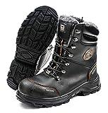 Zapatos de Seguridad Pesso NORDSTAR S3 Extremadamente Fuertes y Resistentes a la abrasión, Piel impregnada de Grano Completo, Forrado con Piel sintética y Lana Natural, Color Negro, Talla 47 EU