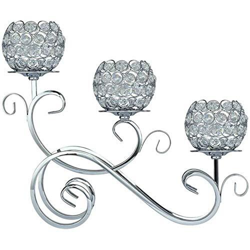 Ruixf 3 Arme Kristall Teelicht Kerzenhalter für Hochzeit Esstisch Party Dekorative Mittelstücke, Weihnachten Home Decor Kerzenhalter (Silber)