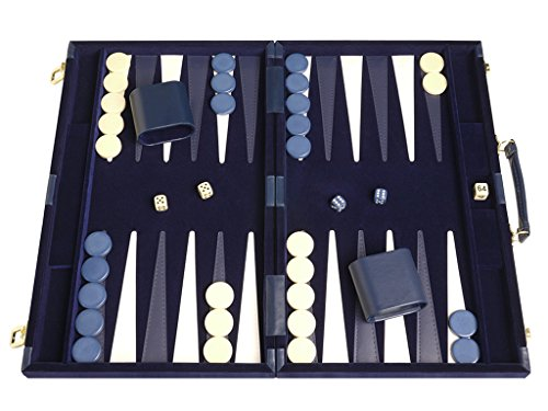 "Middleton Games Deluxe Backgammon Set - Board Game (Blue - 18""x12"")"