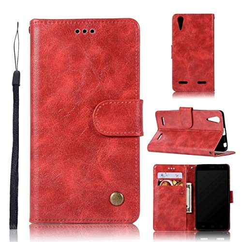 Wblue Mobile Phone Cases for Lenovo A6000 Retro Copper Button Crazy Horse Horizontal Flip PU Leather Case with Holder & Card Slots & Wallet & Lanyard(Wine Red) (Color : Red)