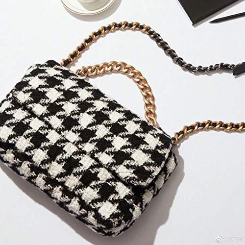 Heng Mode Wolle Plaid Breite Kettentasche Rhombus Square Schultertasche Wolle Umhängetasche Female Crossbody, weiß schwarz, groß