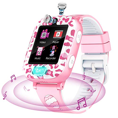 Kids Smart Watch with Twinkle Flashlight - 1.54inch Touch Screen Smartwatch Two Way Call SOS Music Player 2 Cameras 6 Games Children Phone Watch for Boys Girls 4-12Y Birthday Gifts (Pink)