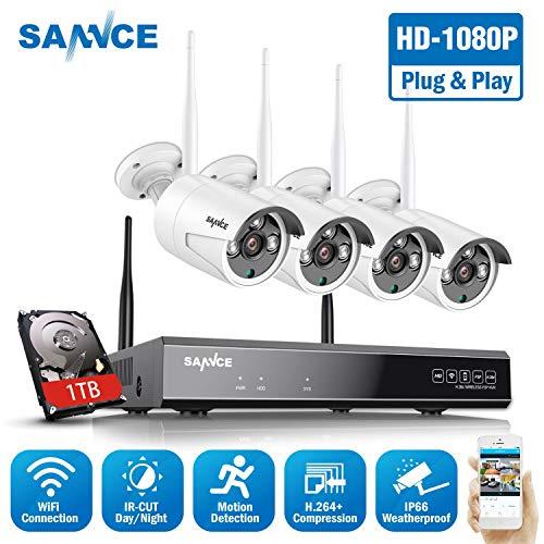 WLAN Überwachungskamera Set,SANNCE 1080P 8CH Wireless NVR + 4x1080P Kabellose Outdoor Außen Überwachungskamera mit 1TB Festplatte Fernzugriff Bewegungserkennung Nachtsicht bis zu 30 Meter