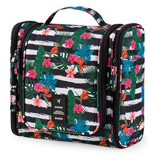 BOOEEN Hanging Travel Toiletry Bag for Women and Girls, Portable Waterproof Cosmetic Travel Bag, 17 Compartments Non-slip zipper, Sturdy Hook, Perfect for Daily use and Travel(Hawaiian Flower)
