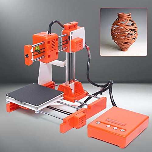 Kids 3D Printer Starter Kit, FDM Print Mini Desktop 3D Printer with Inside TF Card One Key Mute Printing 100100100mm 0.1-0.2mm Printing Accuracy for Home Kids Use