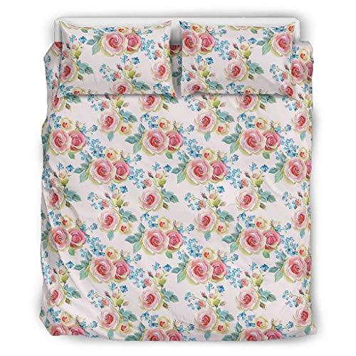 O2ECH-8 Pflanze Blume Tagesdecke Premium 3-teilig Bettbezüge und Kopfkissenbezüge - Weich und Bequem Boho Bettwäscheset King Size White 229x229cm