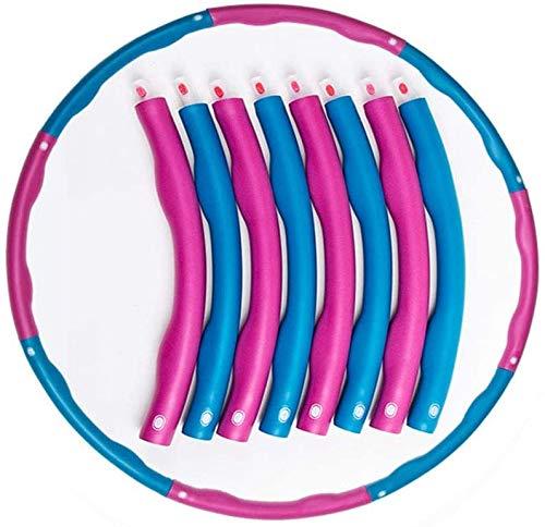 Hula Hoop-Aro de fitness para adultos Hula Hoop for la reducción de peso de los aros con saltar Cuerdas de forma gratuita con espuma Aproximadamente 1,2 Kg Pesos ajustables Ready 8 Secciones ancha pon