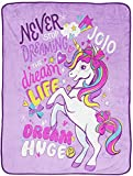 Jay Franco Nickelodeon JoJo Siwa Dream Unicorn Throw Blanket - Measures 46 x 60 inches, Kids Bedding - Fade Resistant Super Soft Fleece (Official Nickelodeon Product)