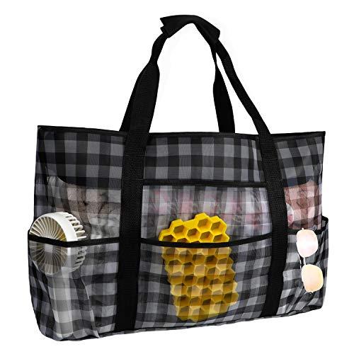 Babyhelen Große Strandtasche Reisetasche Sand Spielzeug Aufbewahrungstasche Faltbare Handtaschen Netztasche Picknicktaschen für den Sommer Strand Shopping für Familie Urlaub 70x45x18cm (Kariert)