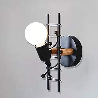 ALLOMN Aplique de pared Vintage, Dormitorio Lámpara de Noche Lámpara Retro Industrial Decoración Moderna Linterna de Metal Decoración Aplique de Pared E27 Base (Bombillas no Incluidas)