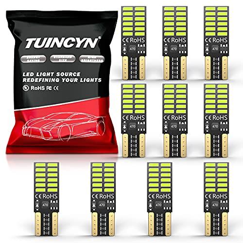 Tuincyn Bule LED Ampoules 4014 24 SMD T10 W5 W 2825 168 pour lampes d'intérieur, lampe clignotante, plaque, lampe de secours 5W (pack de 2)