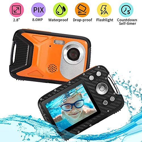 SSeir FHD 1080P waterdichte camera, 21MP onderwatercamera 8-voudige digitale zoom digitale camera 5,0 meter compleet verzegeld 2,8 inch TFT-LCD-scherm om te snorkelen