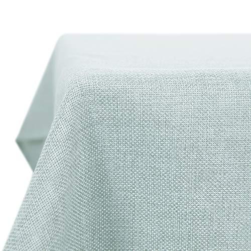 Deconovo Tischdecke Lotuseffekt Tischtuch Leinendecke Tischwäsche Eckig Wasserdicht 130x280 cm Minzgrün