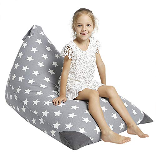 Aubliss Stuffed Animal Storage Bean Bag Chair Cover for Kids, Girls and Adults, Beanbag Cover Only, 23 Inch Long YKK Zipper, Premium Cotton Canvas, Xmas Gift Ideas(Grey Star)