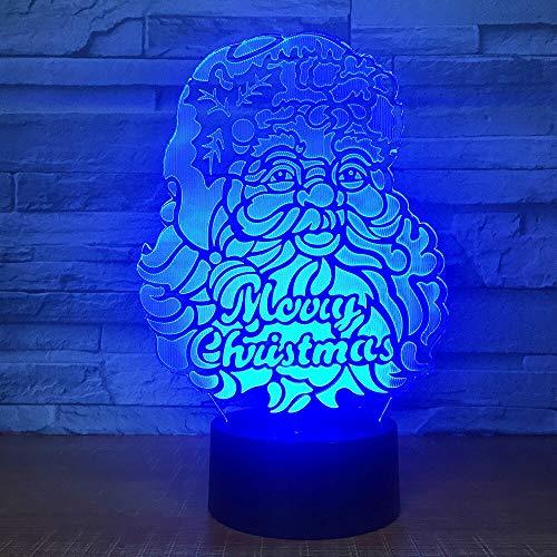 7 colores cambiantes 3D luz nocturna creativa Santa Claus Visual Led 3D lámpara de mesa de escritorio iluminación para dormir bebé niños regalo de Navidad
