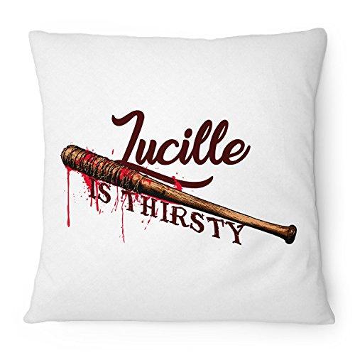 Fashionalarm Kissen Lucille Is Thirsty - 40x40 cm mit Füllung | Geschenk Idee für Fans Serie T-W-D | Dead Walking The Saviors Baseballschläger, Farbe:weiß