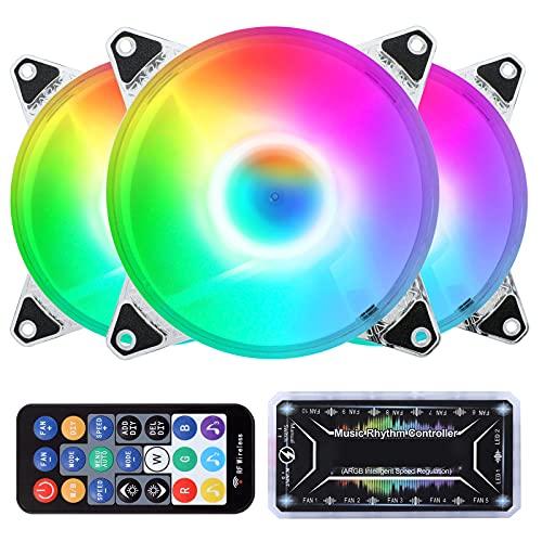 BYIMEI Ventiladores de caja RGB de 120mm,con silencioso ventiladores para Controladores,Sincronización de placa madre direccionable ARGB de 5 V con ritmo musical (Paquete de 3)
