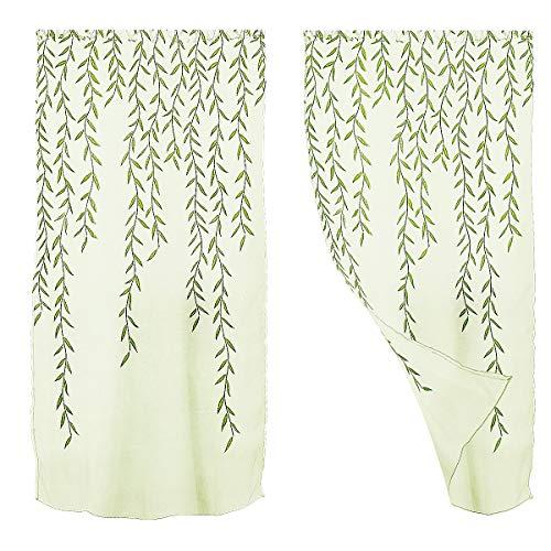 WINOMO Transparente Voile Vorhänge Gardine Schal Dekoschal für Schlafzimmer Wohnzimmer Blumen Druck 100x270cm (grün)