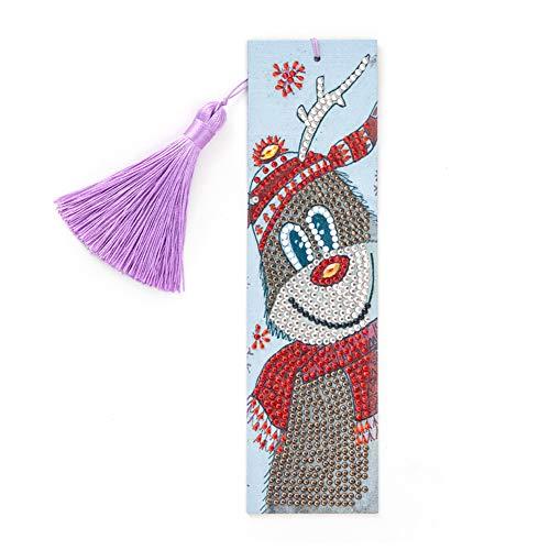 Prosperveil Leather Bookmark Handmade DIY 5D Diamond Painting Christmas Reindeer Bookmarks Kits with Tassels Pendant Charms Bookmarks for Women Girls Kids Children Birthday Xmas Gift Craft