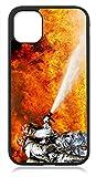 aina Kompatibel mit Samsung Galaxy S21 Hülle Silikon Dünn, Handyhülle für Samsung Galxy S21 5G Schutzhülle Hülle Schwarz Feuerwehr Motiv Bild