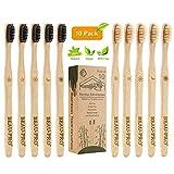 Spazzolino Bamboo x10 Spazzolini Bamboo 100% Senza BPA - Bamboo Toothbrushes Naturali Vegano ed Ecologici con Setole di Carbone Morbide e Disegno Individuale, Confezione Biodegradabile Sostenibile