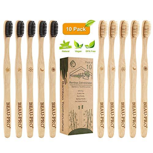 BEAU-PRO Brosse à Dents en Bambou, Lot de 10 Brosse à Dent 100% Biodégradable et Écologique, Poils Souples en Fibre de Charbon Végétal, Design Ergonomique, Convient aux Adultes et Enfants