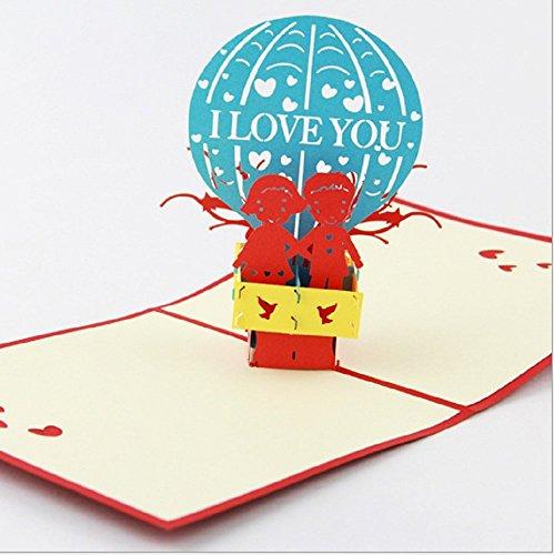 BC Worldwide Ltd Handgemachte Pop-up-Pop-up-Karte Origami Kirigami 3D ich liebe dich Ballon Valentines Karte Geburtstagskarte Ostern Engagement Hochzeitstag für sie ihm Partner Liebhaber paar junge Freund Freundin
