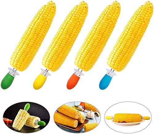 zyh Brochetas de maíz en la mazorca,Soporte para maíz,Mango de Silicona para cocinar en casa,Barbacoa,Camping y Fiestas