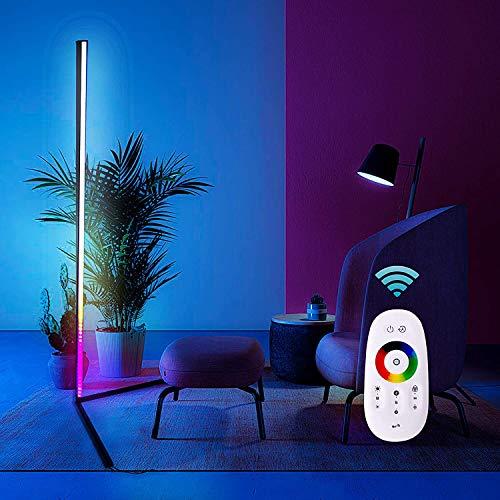 Lámpara de pie de esquina colorida, luz de esquina led regulable, lámpara vertical mínima alta, iluminación de esquina nórdica moderna para sala de estar, con control de romota y estante de trípode, a