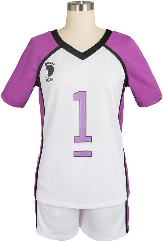 Haikyuu   Shiratorizawa Academy Season 3 Uniform Captain Wakatoshi Ushijima No.1 Volleyball Jersey Cosplay Kostüm Herren S