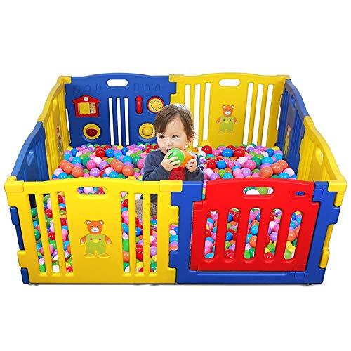 Laufgitter Baby Kids Safety Activity Center Spielplatz Home Indoor Outdoor Neuer Füllfederhalter Interaktiver Baby-Spielplatz (8 Panels, Kindersicherheit, Play Center, Heim, CCC-zertifiziert