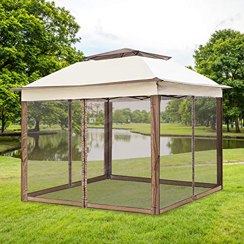 Aoxun Patio 11'x11' Pop-Up Gazebo Tent Instant with Mosquito Netting Outdoor Gazebo Canopy Shelter (Beige)