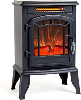 FLAME&SHADE Electric Wood Stove Fireplace Heater - Freestanding - Height 23in