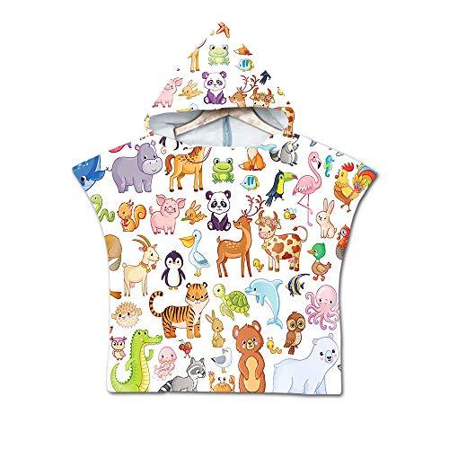 Treer Badeponcho Strandtuch mit Kapuze für Kinder, 3D Cartoon Panda Mikrofaser Bademantel Badetuch Schnelltrocknen Wechselkleider Poncho Handtuch Für Jungen Mädchen (60X60cm,Tierwelt)