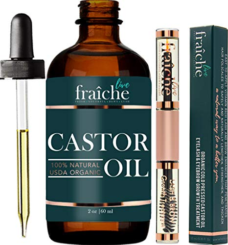 Castor Oil (2oz) + Custom Mascara Tube USDA Certified Organic, 100% Pure, Cold Pressed, Hexane Free by Live Fraiche. Stimulate Growth for Eyelashes, Eyebrows, Hair. Lash Growth Serum. Brow Treatment