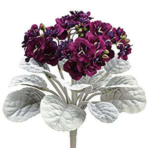 SilksAreForever 12″ African Violet Silk Flower Bush -Eggplant (Pack of 24)
