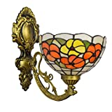Wall-Mounted Light Fixture 8' British Color Glass Retro Mirror Tiffany Wall lamp Garden Bedside Wall lamp Aisle Rich Flower Single Head Glass Wall lamp