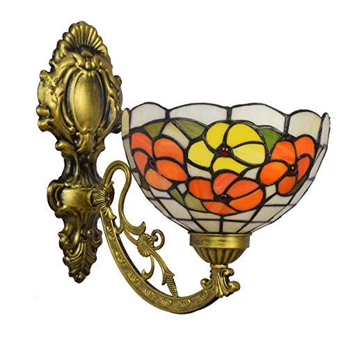 DALUXE Tiffany Crystal Lámpara de Pared de 8 Pulgadas Color británico Vidrio Retro Mirror Tiffany Lámpara de Pared Jardín Reich Flower Luz de Pared de Vidrio