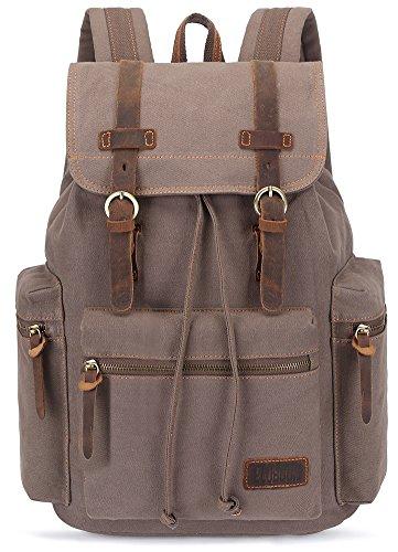 BLUBOON Tela Zaini Vintage Zaino Uomo Donna Unisex Canvas Backpack Rucksack (Army Green)